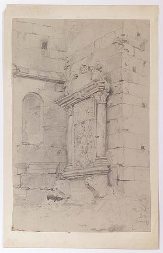 "Leopold MUNSCH - Dibujo Acuarela - ""Motif from Eisenerz, Austria"", late 19th Century"
