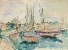 Henri EPSTEIN - Drawing-Watercolor - The port
