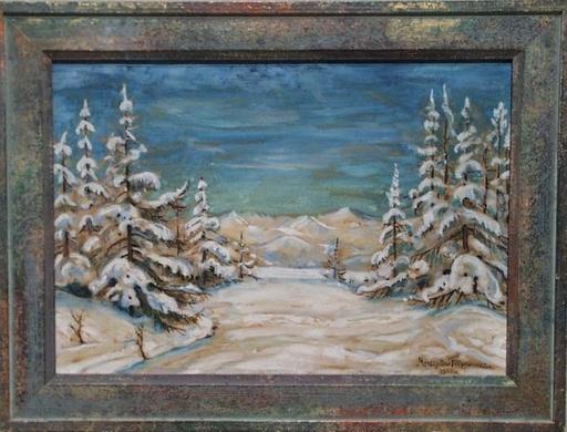 """Mieczyslaw FILIPKIEWICZ - Dibujo Acuarela - """"Winter Landscape"""" by Mieczyslaw Filipkiewicz"""
