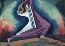 Moshe BERNSTEIN - Drawing-Watercolor - Dancing Hassid,1955