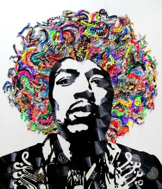 Mr brainwash jimi hendrix artwork on the marketplace for Mural painted by street artist mr brainwash