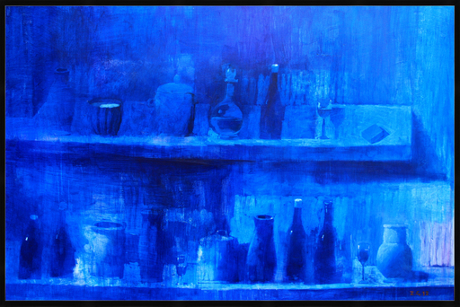 Zurab GIKASHVILI - Painting - Still life in blue