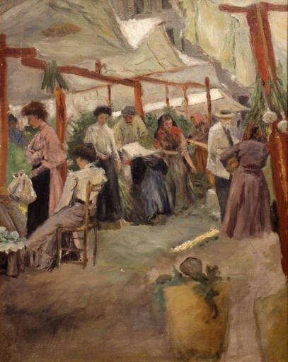 Pio JORIS - Pintura -  Mercato di Campo de' Fiori a Roma