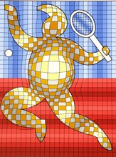 Victor VASARELY - Estampe-Multiple - The Tennis Player
