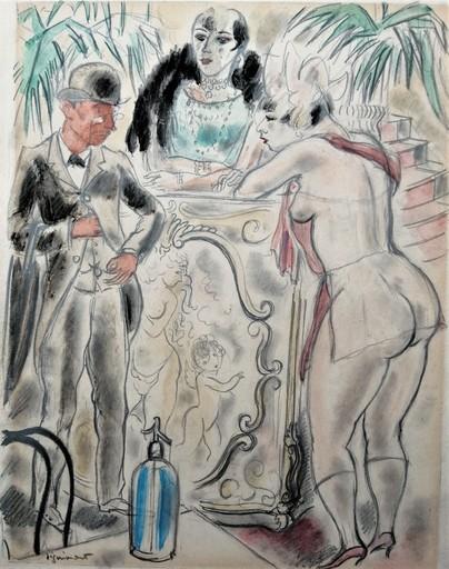 André DIGNIMONT - Drawing-Watercolor - Le moment de régler