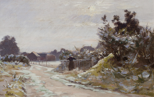 Henri SAINTIN - Painting - At the gate in winter