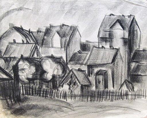 Friedrich EINHOFF - Drawing-Watercolor - #20013: Häuserzeile-Stadtansicht