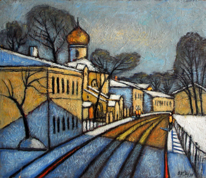 Valeriy NESTEROV - Painting - Moscow. Turchaninov Lane