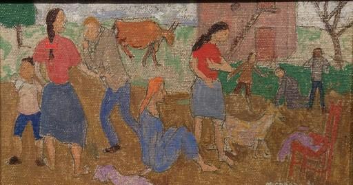 Grégoire MICHONZE - Painting - Pair of paintings:Country Village Scenes