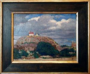 Hans CHRISTIANSEN - Pintura - Landschaft mit Kirche