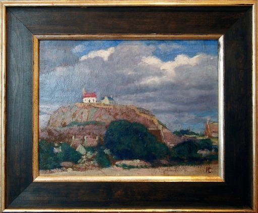 Hans CHRISTIANSEN - Pittura - Landschaft mit Kirche