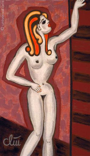 Jacqueline DITT - Peinture - Akt mit Paravent 1 (Nude with Foldingscreen 1)