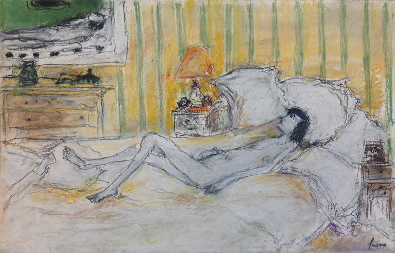 Jean FUSARO - Dessin-Aquarelle - Nu sur le lit