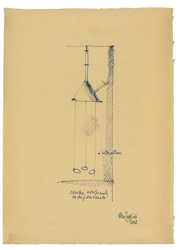 Piero FOGLIATI - Disegno Acquarello - Cerchi evoluenti indipendenti