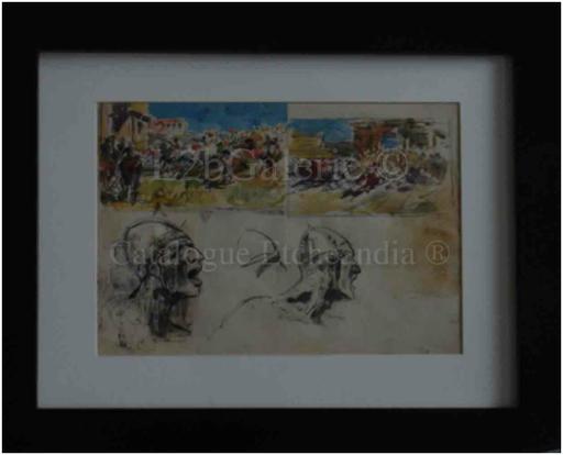 Ulpiano CHECA Y SANZ - Drawing-Watercolor - La invasión de los Bárbaros -  L'invasion des Barbares