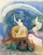 Odilon REDON - Drawing-Watercolor - Le Monstre vert (Apollon chevauchant le serpent Python)