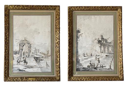 Francesco GUARDI - Dessin-Aquarelle - Paysage en Ruine