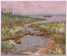 """Vladimir Aleksandrovich ZHUGAN - Pintura - """"On the Dnepr River"""", Oil Painting, 1980"""