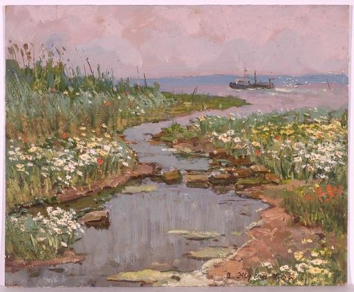 "Vladimir Aleksandrovich ZHUGAN - Pittura - ""On the Dnepr River"", Oil Painting, 1980"
