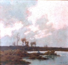 Alexandre JACOB - Painting - pêcheur sur le marais