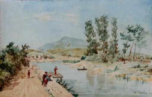 """Hippolyte PRADELLES - Drawing-Watercolor - """"L'ÎLE DES FAISANS"""""""