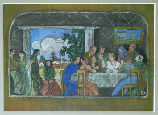 Béla KADAR - Painting - Family of Farmers
