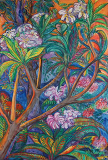 John BOYCE - Painting - Kiluea With Plumeria Tree
