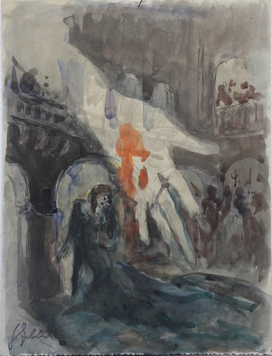 Georges Guido FILIBERTI - Drawing-Watercolor - Decor de theatre pour une piece de Macbeth