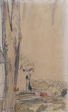 Édouard VUILLARD - Dessin-Aquarelle - Trees by a river bed