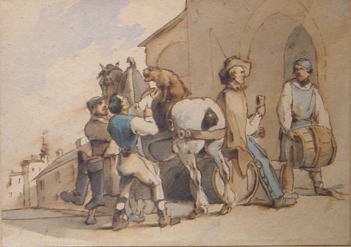 Carl SCHINDLER - Zeichnung Aquarell - Hommes préparant un cheval