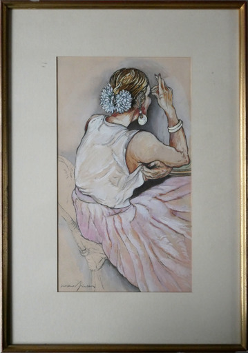 MORENO-PINCAS - Disegno Acquarello - Untitled (Woman with cigarette)
