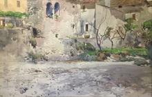 Onorato CARLANDI - Drawing-Watercolor - Pieve Sto. Stefano