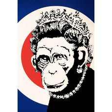 BANKSY - Estampe-Multiple - Monkey Queen Signed