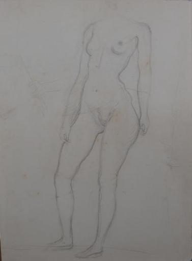 Salvador DALI - Drawing-Watercolor - Standing nude model