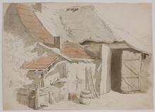 Paul LAUTERS - Drawing-Watercolor - Farmhouse, Drawing, early 19th Century
