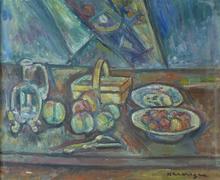 Pinchus KREMEGNE - Peinture - Still Life with Basket, Jug and Fruits