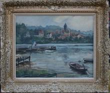 Henri Jean PONTOY - Painting - PECHINE SUR LA SEINE- EGLISE DE DE VETHEUIL