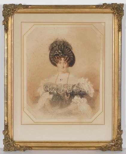 "Alfred Edward CHALON - Dessin-Aquarelle - ""Portrait of an Aristocratic Lady (Royalty?)"""