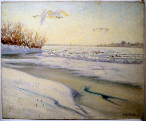 Alfred Louis ANDRIEUX - Peinture - Vol de l'Oie sur la Loire gelée