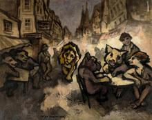Oskar RABIN - Painting - Rue Saint-Denis