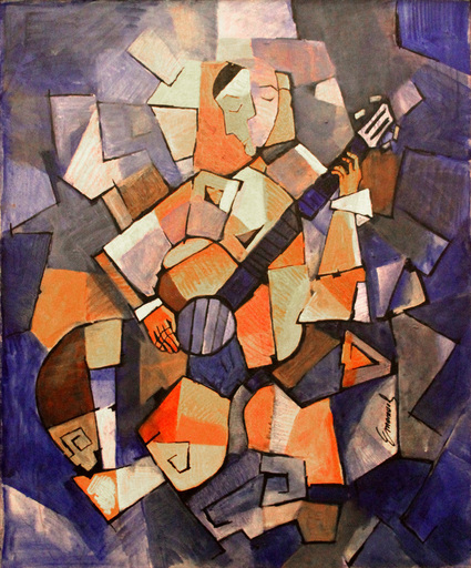 Emanuel OLOGEANO - Painting - Man with Guitar