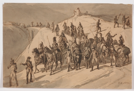 "Joseph Zephyris GENGEMBRE - Dessin-Aquarelle - ""Napoleonic Troops in Spain"", 1839, Drawing"