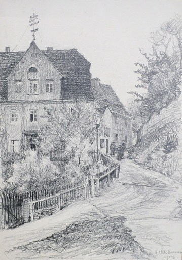 """Willy SCHUMANN - Drawing-Watercolor - """"Dresden - In the street"""""""