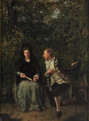 Martín RICO Y ORTEGA - Gemälde - Galanteo en el jardín.