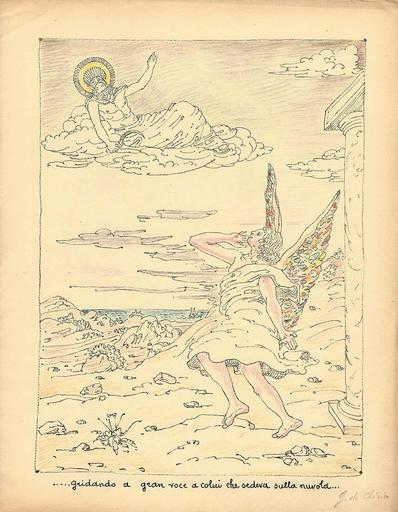 乔治•德•基里科 - 版画 - gridando a gran voce a colui che sedeva sulla nuvola,1941