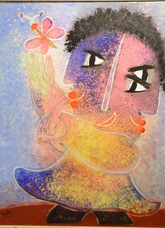 Juan GARCIA RIPOLLES - Pittura - NINA AU PAPILLON