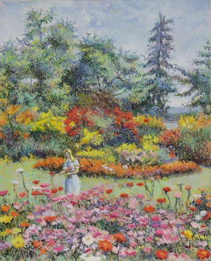 Hugues Claude PISSARRO - Gemälde - Lélia au Jardin