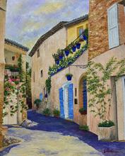 Gyslaine PACHET-MICHENEAU - Painting - Ruelle aux volets bleus