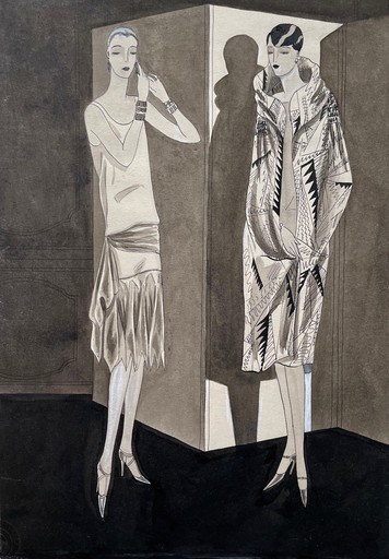 Dörte Clara WOLFF - Disegno Acquarello - Tanzkleid und Abendcape