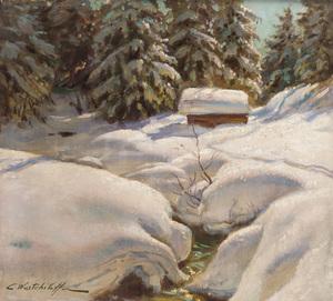 Konstantin Alexandrovitch WESCHTSCHILOFF - Painting - Snow Banks
